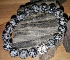 Bracelet homme en perles obsidienne snowflake : Bijoux pour hommes par vel