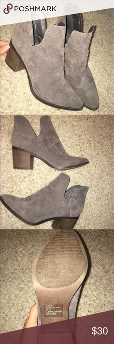 "Lulus booties Lulus grey booties. Work twice but too big for me. Size tag still on bottom. Wooden heel 2""-2.5"" Lulu's Shoes Ankle Boots & Booties"