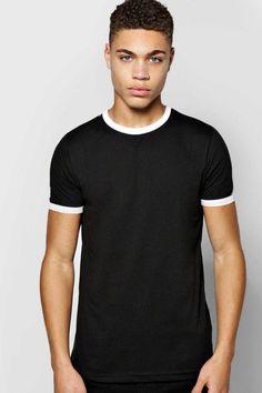 #FashionVault #boohoo #Men #Tops - Check this : boohoo Contrast Rib T Shirt - black for $ USD