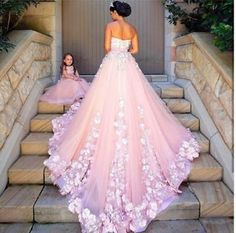 Princess Pink Tulle Quinceanera Dress 3D Floral Appliques Prom Dresses Ball Gown | eBay Event Dresses, Ball Dresses, Ball Gowns, Party Dresses, Prom Dresses For Teens, Girls Dresses, Flower Girl Dresses, Summer Dresses, Quinceanera Dresses