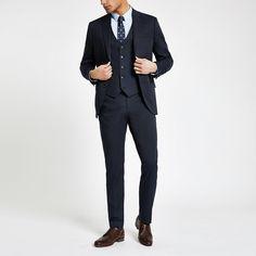 Shop our new Navy slim fit suit trousers at River Island today. Trouser Suits, Trousers, Navy Slim Fit Suit, Navy Suits, Three Piece Suit, Wedding Suits, Swim Shorts, Suit Jacket, Suit Pants