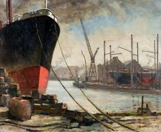 River Wear, Sunderland with Shipyards  by Walter Norman        Date painted: 1955      Oil on board, 50.5 x 63.5 cm      Collection: Sunderland Museum & Winter Gardens