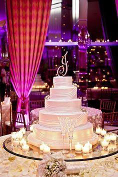 "Draped ""silk"" wedding cake www.sublimebakery.com"