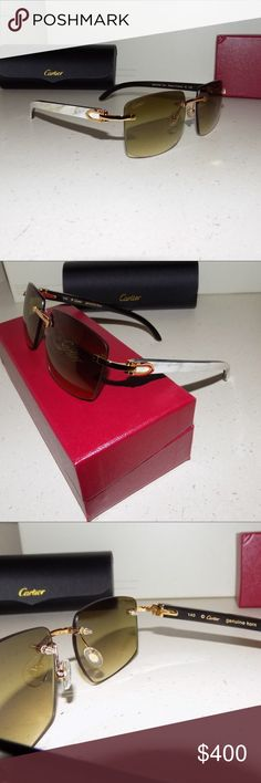 Authentic Cartier Mixed Buffalo Horn Sunglasses Size: 55 Lenses-18 Bridge-140 Temples mm Michigan Auction pickup.  Display/Demonstration model These are a USED pair of Cartier White and Black buffalo horn glasses.  Glasses are in good condition and comes with the original box, holder case, cleaning cloth, and both Cartier history booklets. Priority Shipping Cartier Accessories Glasses