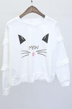 Cute Cat Face Print Ruffle Long Sleeve Pullover Sweatshirt. Pastel BunBun f4c449b67
