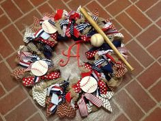 """Wreath for hospital door when Baby """"Tri"""" Angle makes his appearance in April.  Will put his """"real"""" name, date of birth, and weight/length on baseballs at that time. Can't wait!"""