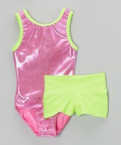 Take a look at this Watermelon Hot Pink Foil Leotard & Lime Shorts - Girls by Pelle Activewear on #zulily today!