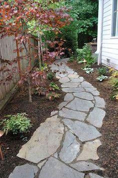 Garden-Path-Stone-Example-2 Side Yard Landscaping, Mailbox Landscaping, Landscaping Ideas, Inexpensive Landscaping, Hillside Landscaping, Pavers Ideas, Stone Landscaping, Walkway Ideas, Stone Garden Paths