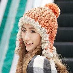 ff8980da20480 Rabbit Fur knit bomber hat with ear flap for women hairball winter hats
