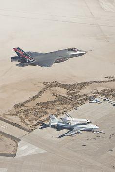F-35 Spots The Shuttle.