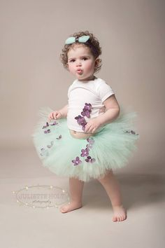 Mint Fairy Tutu with Purple Flowers and Matching by abitofglamour