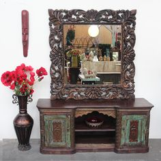 Stunning recycled teak mirror and restored side board / cabinet from India. Support ethical and sustainable trade. Rustic Furniture, Vintage Furniture, Side Board, Northern Thailand, Indoor Outdoor Living, Interior And Exterior, Teak, Restoration, Recycling
