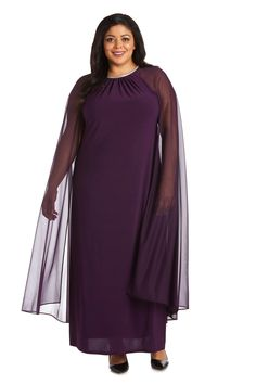 R&M Richards Plus Size Long Formal Cape Gown 2487W   The Dress Outlet Cape Designs, Long Cape, Cape Gown, Full Length Gowns, Special Occasion Outfits, Fashion Mask, Bride Gowns, Formal Gowns, Fashion Advice
