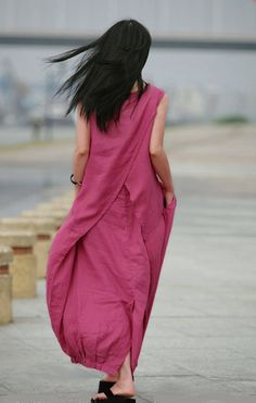 Long linen dress in pink