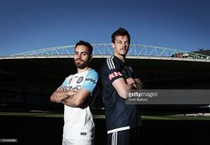 Anthony Caceres of Melbourne City and James Donachie of Melbourne Victory pose for photographs during an A-League media opportunity at Etihad Stadium on October 13, 2016 in Melbourne, Australia.