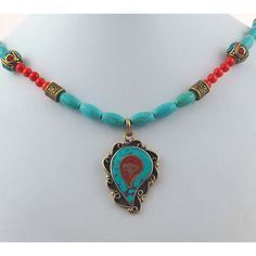 Unusual exotic tibetan turquoise necklace dynamic red coral tibetan brass inverted leaf with turquoise and coral inlay pendant with tibetan beads turquoise colored magnesite and coral necklace aloadofball Images
