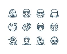 Free Star Wars Icons - perfect for making buttons/invites/wrapping paper for a Star Wars-themed #birthday #party #starwars #icons #printables