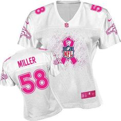 Women's Nike Denver Broncos #58 Von Miller Game White 2012 Breast Cancer Awareness Jersey $79.99