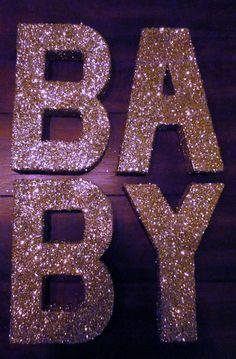 Wedding Decor-Birthday Decor-Gold and Glitter-8in Letters-Paper Mache-Gold Glitter Letters
