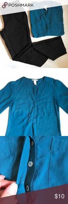 H&M 3/4 sleeve v-neck blouse w/ two front pockets ▫️Top to Bottom is 23.5 inches  ▫️Armpit to armpit is 16.5 inches ▫️Top of neckline to bottom of sleeve is 20 inches  A blue almost real colored blouse from H&M. The blouse has a V-neck along with three hidden buttons. The top also has two front pockets. The length of the sleeves is 3/4 length they tighten at the bottom and have a button. The shoulders are pinched in a way to give them a bit of volume. The back is also pinched in the center…