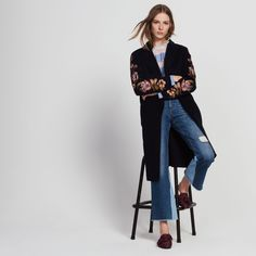 Wool and cotton coat with embroidery - Coats - Sandro-paris.com