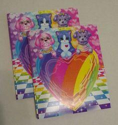 Lisa Frank Puppy Love Portfolio Folder Poly Plastic 3 Prong 2 Pockets Lot of 2 #LisaFrank