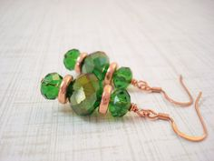 Green and Bright Copper Crystal Beaded Earrings by snowingstars, $20.00