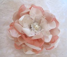 Ivory Champagne and Peach Fabric Bridal Flower by theraggedyrose, $28.95