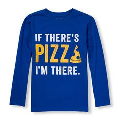 s Boys Long Sleeve 'If There's Pizza I'm There' Graphic Tee - Blue T-Shirt - The Children's Place