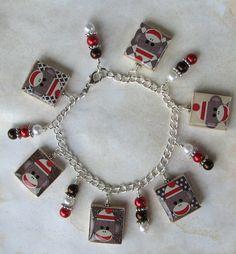 Sock Monkey Custom Charm Bracelet by DesignsbyChastity on Etsy