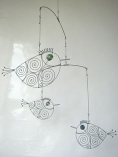 Three Metal Birds Mobile Wire Art Sculpture by MyWireArt on Etsy, $65.00