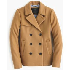 J.Crew Tall Wool Melton Short Peacoat ($375) ❤ liked on Polyvore featuring outerwear, coats, brown wool coat, short coat, j crew peacoat, brown coat and wool coat