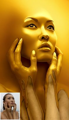 25 Mind Blowing Photo Manipulations by Michael Oswald.  The gradation of the woman becoming united with the background is beautiful. I like how the gold is dripping down her hands and ads a lot of texture and the extra shines off of her face really make the picture