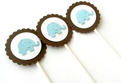 Items similar to 12 Blue Elephant Cupcake Toppers on Etsy Happy Birthday Elephant, Elephant Cupcakes, Cupcake Toppers, Elephants, Unique Jewelry, Handmade Gifts, Party, Blue, Shower