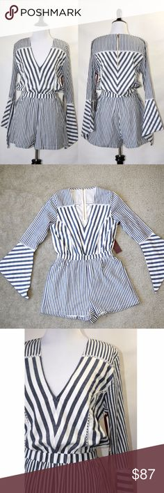"NWT Chloe Oliver Striped Romper With Wide Sleeve New with tag  Striped romper with bell sleeve(wide sleeve) Elasticized waist Navy/White color Cotton Machine wash Fully lined No care label No size tag  Size small (length 31.4"") Chloe Oliver Pants Jumpsuits & Rompers"