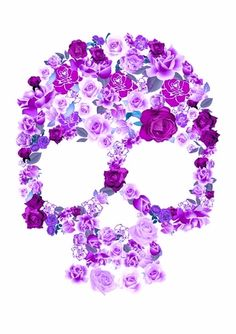 purple and pink pastel flowers skull art print S4 Wallpaper, Skull Wallpaper, Floral Skull, Pink Skull, Spiritus, Candy Skulls, Sugar Skulls, Art Et Illustration, All Things Purple