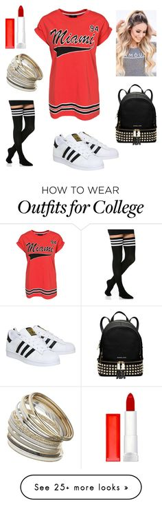 """""""Untitled #172"""" by indecisivebeauty on Polyvore featuring WithChic, adidas, Miss Selfridge, MICHAEL Michael Kors, Maybelline, women's clothing, women, female, woman and misses"""