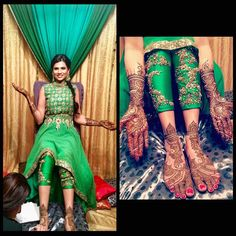 Sheena from Calgary looks radiantly beautiful on her mehndi wearing the perfect piece for the occasion! This hand embroidered high low… Indian Wedding Outfits, Bridal Outfits, Indian Outfits, Indian Clothes, Wedding Attire, Sangeet Outfit, Mehndi Outfit, Indian Mehendi, Indian Wear