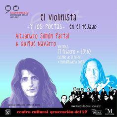Publicidad Generación del 27. El violinista y los poetas en el tejado. Quike Navarro & Alejandro Simón Partal. Benalmádena (Málaga).