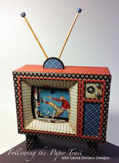 Good ol Sport altered TV by Laura Denison from Winter CHA 2014 3d Paper Projects, 3d Paper Crafts, Paper Art, Arts And Crafts, Scrapbook Albums, Scrapbook Paper, Scrapbooking Ideas, Creative Box, 3d Craft