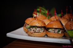 Alder Smoked Chicken on caraway bun & pickled celery | Lisa Dupar Catering, Seattle | Barbie Hull Photography