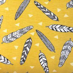 Inky Feathers Mustard Organic Andrea Lauren by BizzyandBooFabrics