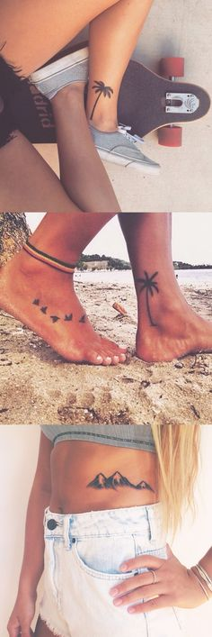 Palm Tree Tattoo Ideas for Women - Black Flower Ankle Foot Tatt - Mountain Rib Tat - MyBodiArt.com