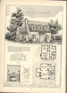 1920s Vintage Home Plans Dutch Colonial Revival The