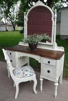 white painted vintage vanity - painted furniture