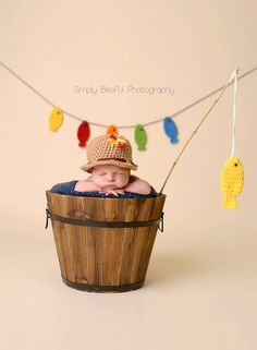 Crochet fishing set-fisherman hat-fishing prop-newborn photo prop-newborn fishing prop-boys fishing-toddler boy