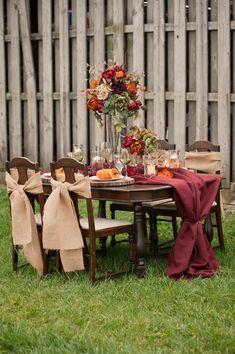 Rustic Fall Winter Wedding Burlap In Rich Hues Burlap Sashes, Burgundy Runner, Tall Centerpiece of silk flowers