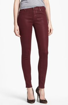 Love this color of skinny and the shimmer to the fabric. Cute with the leopard pumps too.