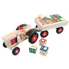 Wooden Tractor with ABC trailer Taufgeschenke Direkt