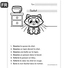 Fichier PDF téléchargeable Langue: français En noir et blanc 1 page Taille d'une page: 8,5 X 11 po. Niveau: 1re année  Les élèves complètent l'image en suivant les sept consignes. French Language Lessons, French Language Learning, French Lessons, How To Speak French, Learn French, Teaching French Immersion, Grade 1 Reading, French Teaching Resources, French Worksheets